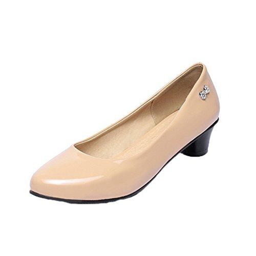 Allhqfashion Femmes En Cuir Verni À Bout Rond Talons Bas Pompes-chaussures Abricot