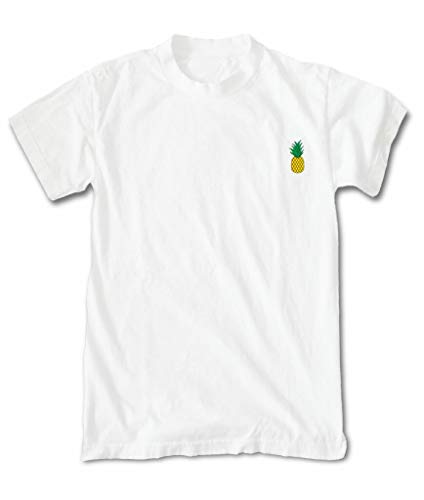 White T-shirt Large Embroidered - Riot Society Pineapple Embroidered Men's T-Shirt - White, X-Large