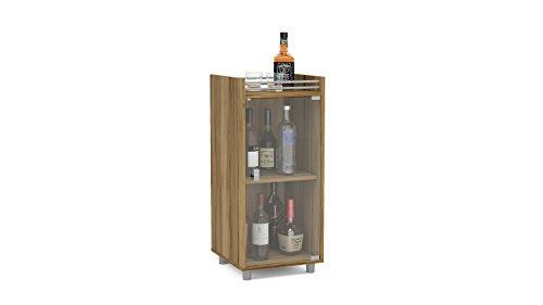 Mini Bar Furniture (Boahaus Classic Mini Bar, One Glass Door, 2 Shelves, Brown)