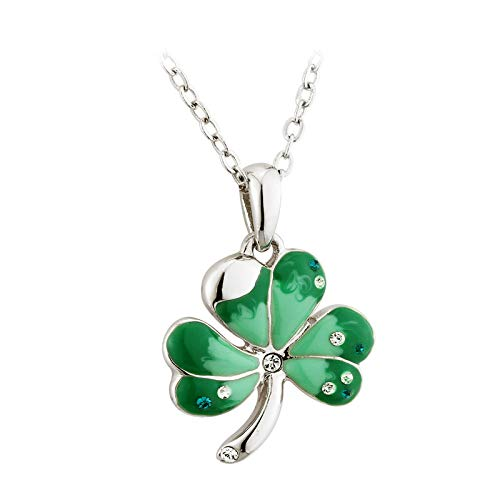 Solvar Shamrock Rhodium Plating & Green Enamel Pendant Irish Made
