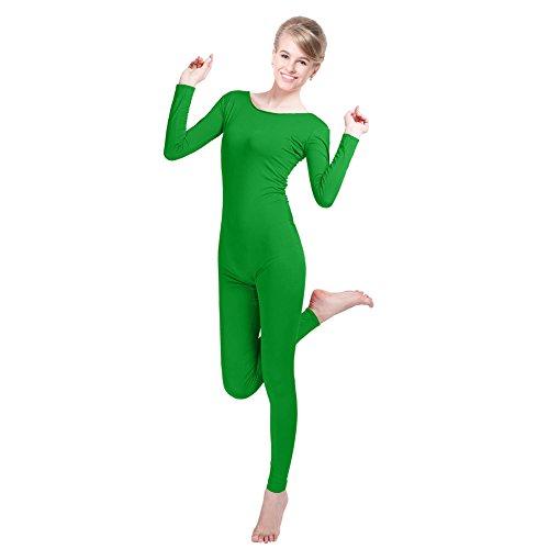 Green Spandex Bodysuit (Unisex Lycra Spandex Unitard Scoop Neck Long Sleeves Footless Elastane Bodysuit Costume (XL(5'9-6'/154-176LB), Emerald Green))