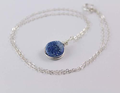 """Blue Quartz Druzy Wire Wrapped Pendant Silver Necklace - 16"""" length"""