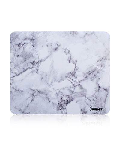"Insten Marble Mouse Pad, Premium Super Smooth Stylish Marble Computer Mouse Pad with Waterproof Coating, Non Slip Base, White Marble (8.6"" x 7"")"