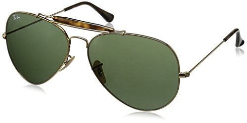 Ray-Ban Outdoorsman II - Gold Frame Dark Green Lenses 62mm - Ray Plastic Aviator Lenses Ban