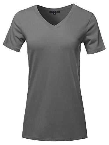 Gear Womens V-neck T-shirt - Basic Solid Premium Cotton Short Sleeve V-Neck T Shirt Tee Tops Ash Grey L