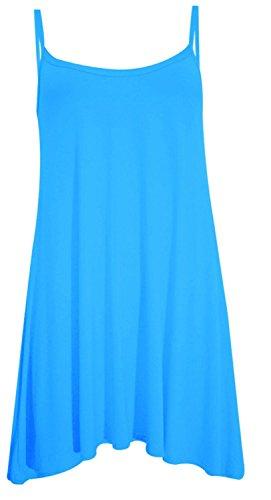 Camiseta sin mangas, vestido de tirantes para mujer, tallas grandes para playa, de verano, tallas desde la 36 a la 50 turquesa