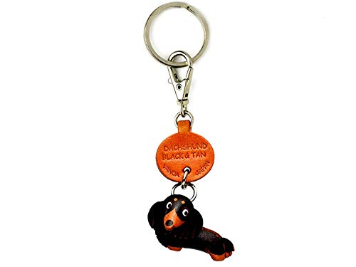 Dachshund Black&Tan Leather Dog Small Keychain VANCA Craft-Collectible Keyring Charm Pendant Made in Japan