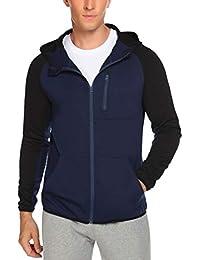Men's Full Zip Hoodie Jacket Long Sleeve Raglan Sweatshirt with Kanga Pocket