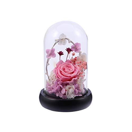 Uonlytech Rosa Rose de Vidrio Cúpula con Led Cadena y Base de Madera para Regalo de Mujer