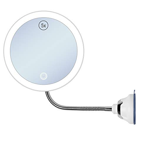 GECOUN 5X Magnifying Makeup Mirror with Light Flexible Gooseneck Bathroom Magnification LED -
