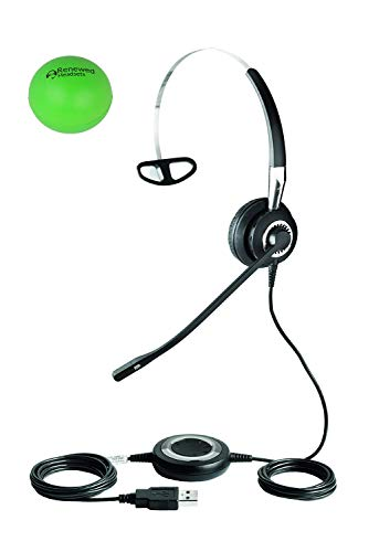 Jabra Biz 2400 USB Single Speaker Wired Headset Bundle with Renewed Headsets Stress Ball (Renewed)