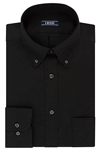 IZOD Men's Regular Fit Stretch Solid Buttondown Collar Dress Shirt, Black 16