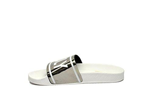 The White Brand Sandali Donna HOLYBEACHSILVER Ecopelle Argento/Bianco