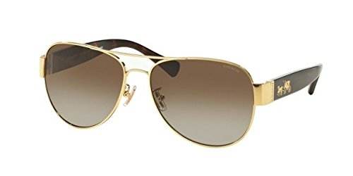 COACH Women's 0HC7059 Gold/Dark Tortoise/Brown Gradient Polarized - Brown Sunglasses Gradient