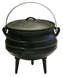 Best Duty Cast Iron Potjie Pot Size 4 - Include complementary Lid Lifter Knob ($9.95 value) by Best Duty