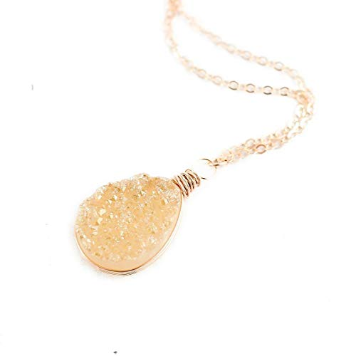 - Champagne Druzy Rose Gold Pendant Necklace - 18