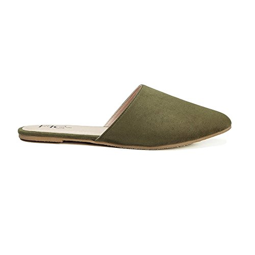 FFC NEW YORK Sabrina Green Microsuede Slip On Mule Flat Sandal Size 8