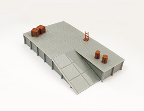 Outland Models Train Railway Platform / Loading Dock (wide) w Goods HO Scale