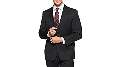 Calvin Klein Modern Fit Black Solid Notch Lapel Two Button Flat Front New Men's Suit Set