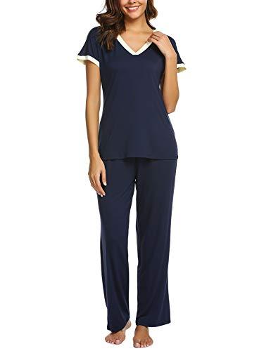 374c83648a Ekouaer Womens Pajama Set Soft Short Sleeve Top   Long Pants Sleepwear Pjs  Sets