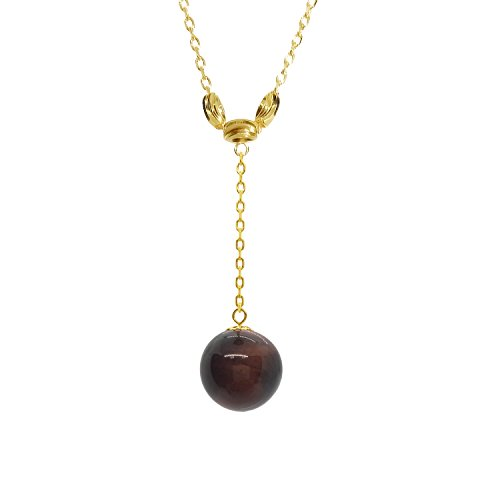 wn Tiger Eye Necklace Pendant with Gold Plated Chain Natural Gemstone (Gold Plated Tiger Charms)