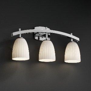 Justiceデザインfsn-8593 – 28-weve-mblkアーチ部分3つライトバスバー、ガラスオプション: Weve :織りガラスシェード、選択仕上げ:マットブラック仕上げ、ランプオプション標準ランプ B00875S174