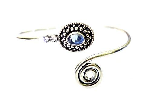 Tibetan Silver Iolite Gemstone Handmade Cuff Bracelet for Women 925 Oxidized Siver Cuff Bracelet