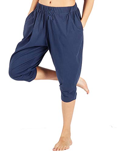WEWINK CUKOO Women Cotton Capri Pajama Pants Cropped Lounge Pants with Pockets Harem Pants Navy
