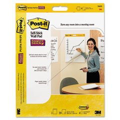 - Self-Stick Wall Easel Unruled Pad, 20 x 23, White, 20 Sheets, 4 Pads/Carton (Stick 566 Wall Self)