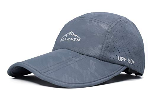 Baseball Cap Quick Dry Travel Hats UPF50+ Cooling Portable Sun Hats for Sports Golf Running Fishing Outdoor Research with Foldable Long Large Bill, C-grey, M-L-XL