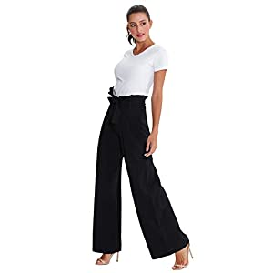 Xintianji Women Frilled Waist Palazzo Pants Casual Wide Leg Trouser Belted with Pockets