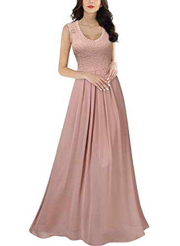 Miusol Women's Casual Deep- V Neck Sleeveless Vintage Wedding Maxi Dress (X-Large, Pink)