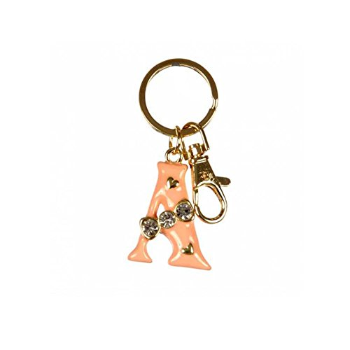 Crown Enamel Rhine stoned Initial Alphabet Letter Keychain Key Ring Bag Charm (Gold-A) (Gold Initial Ring compare prices)