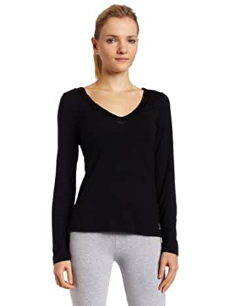 Calvin Klein Womens Essentials With Satin Long Sleeve V-Neck Pajama Top, Black, Small