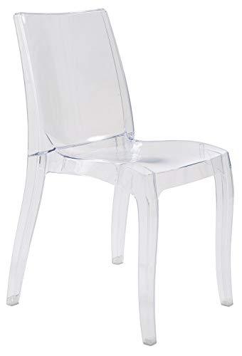 Grandsoleil dès la lumière Transparente en Polycarbonate, Chaise empilable, Cristal Clair, 54x 50x 84cm