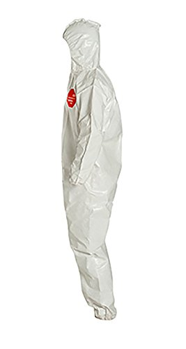 DuPont Tychem 4000 SL127B Disposable Chemical Resistant Coverall with Hood, Elastic Cuff and Bound Seams, White, 2X-Large (Pack of 12) by DuPont (Image #2)