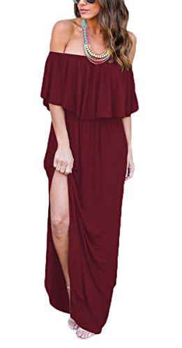 MIDOSOO Women Off Shoulder Ruffle Long Maxi Dress Boho Beach Party Side Split Pockets Dresses Wine Red -