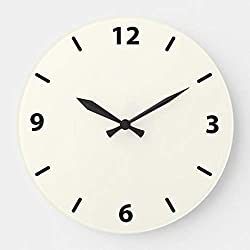 TattyaKoushi 12 Wood Clock, Ivory Round Wall Clock with Numbers, Living Room Clock