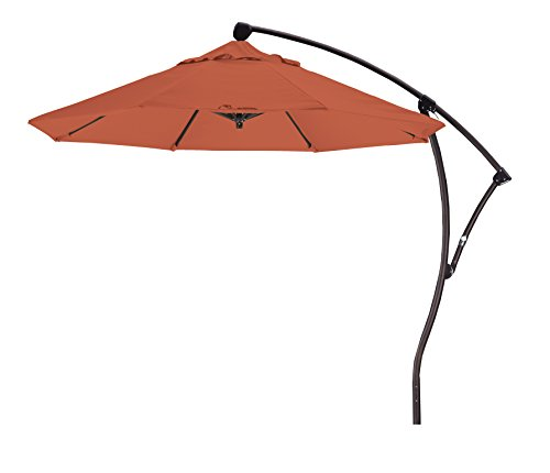 Eclipse Collection 9' Cantilever Market Umbrella Deluxe Crank Lift - (Terra Bronze Outdoor Hanging)