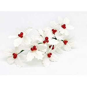 "2.5"" White Poinsettia Paper Flowers Artificial Poinsettias Flowers Paper Poinsettia Christmas Flowers Fake Poinsettia Flowers Mulberry Paper Flowers, 25 Pieces 2"