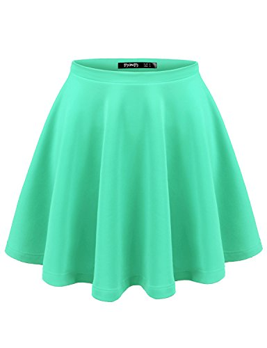Thanth Womens Versatile Stretchy Pleated Flare Short Skater Skirt MINT XX-Large