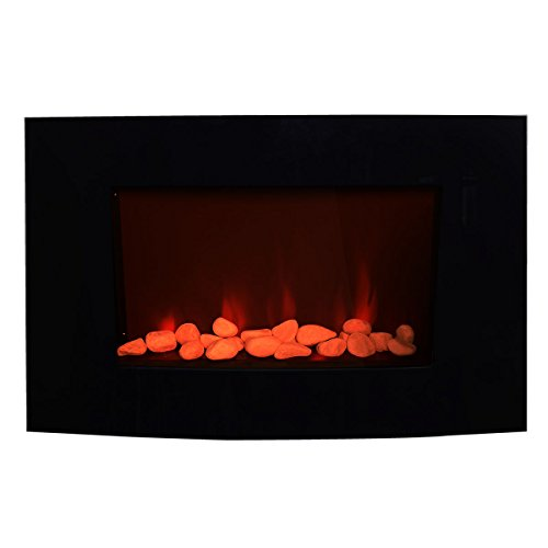 "35"" Adjustable Electric Wall Fireplace Heater W/Remote"