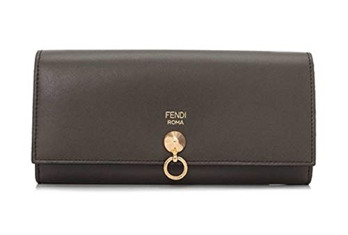 (Fendi By The Way Long Continental Flap Checkbook Coal Grey Calf Leather Wallet 8M0251)