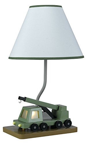 Green 67 Watt 21in. Kids / Youth Wood Crane Table Lamp with On/Off Switch and Night Light from the Kids Collection by Cal