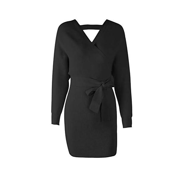 Long Sleeve Backless Mock Wrap Knit Sweater Mini Dress