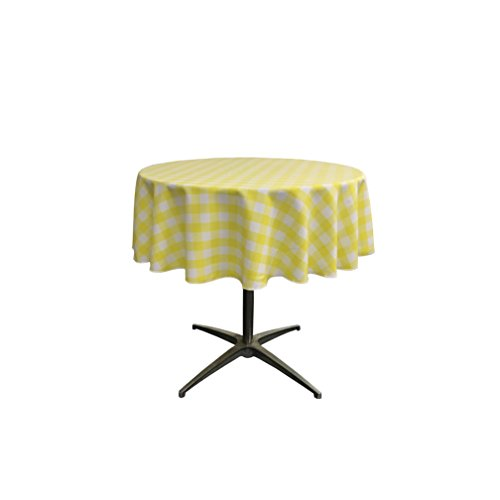 LA Linen Poly Checkered Round Tablecloth, 51-Inch, Light yellow/White ()