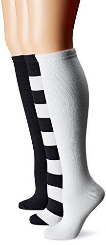 Muk Luks Womens Game Day Sport Mid-Calf Socks (Pack of Three Pairs)