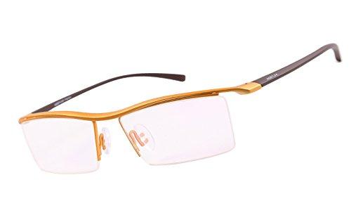 Agstum Pure Titanium Half Rimless Business Glasses Frame Optical Eyeglasses Clear Lens (Gold)