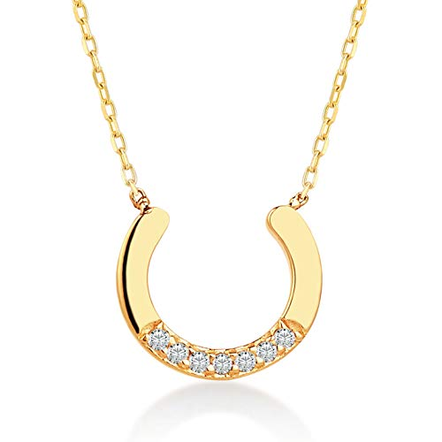 14k Gold Horse - Gelin 14k Real Gold 0.02 ct Diamond Lucky Horse Shoe Chain Necklace for Women, A Perfect Birthday Gifts for Girlfriend, Wife, 18 inch