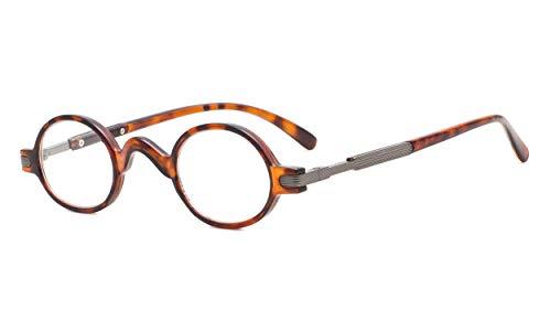Eyekepper Readers Spring Temple Vintage Mini Small Oval Round Reading Glasses Tortoise +1.5 (Glass Vintage Slide)